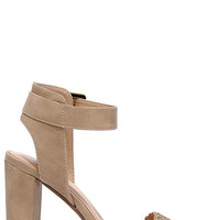 I Heart NY Light Taupe Ankle Strap Heels