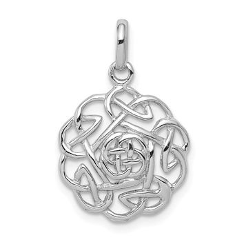 925 Sterling Silver Rhodium Plated Polished Celtic Pendant