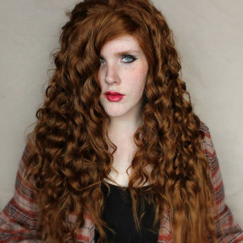 SALE Brown wig, Boho wig, Natural Wavy Curly Long Wig - Brunette Bohemian Hair - Festival Summer Hippie wig // Gypsy