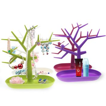 Creative key holder nail polish pendants rings earrings hanger jewelry rack   organizer shelf display rack bird tree shape