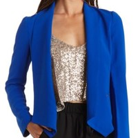 Studded Open Front Blazer by Charlotte Russe - Blue