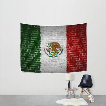 Flag of Mexico Tapestry Wall Hanging Eagle Cactus Wall Decor Art for Bedroom Livingroom Dorm