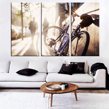 HD Printed Bicycle Couple Walking In Sunset Oil Painting Wall Art Canvas Print Bicycle Poster Free Shipping Home Decoration 3pcs