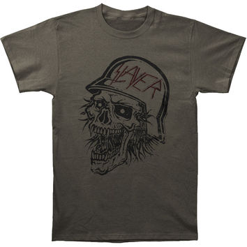 Slayer Men's  Distressed Bloody Skull Vintage T-shirt Charcoal