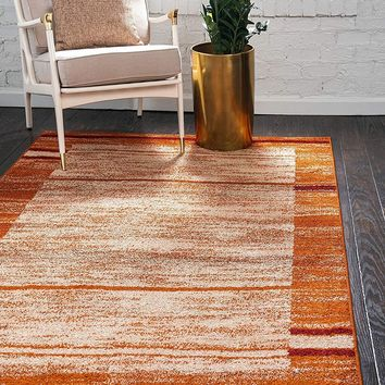 0150 Terracotta Warm Toned Contemporary Area Rugs