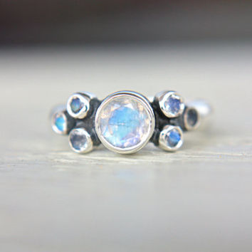 Moonstone Engagement Ring Rainbow Moonstone Ring Moonstone Ring Sterling Silver Promise Ring June Birthstone