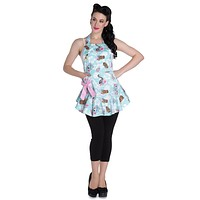 Rockabilly Mom Hawaiian Rockabilly Sugar Skull Lady & Tiki Kitchen Love Apron