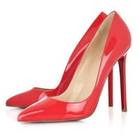 Christian Louboutin Pigalle 120mm Pointed Toe Pumps Red