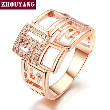 Rose Gold Color Geometric Wedding & Engagement Ring Jewelry Made With Cubic Zirconia For Women ZYR597