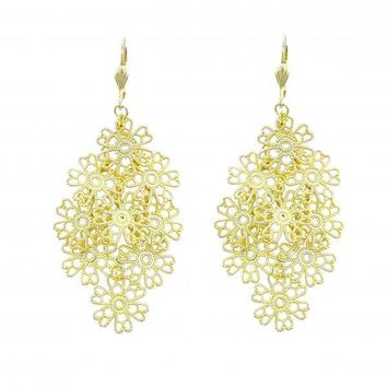 Gold Layered 5.110.008 Chandelier Earring, Flower Design, Polished Finish, Gold Tone