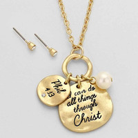 """I can Do All Things Through Jesus Christ"" Gold Necklace"