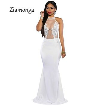 Glamorous Long Party Dresses 2018 Vestidos De Festa Vestido Longo Black White Mermaid Lace Dress Sexy Long Maxi Dress C2385