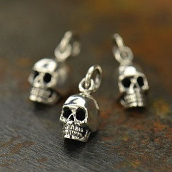 Sterling Silver Tiny Small Skull Charm - Bones and Skulls, Day of the Dead, Bone, Spiritual, Tiny Charm, Detailed Skull