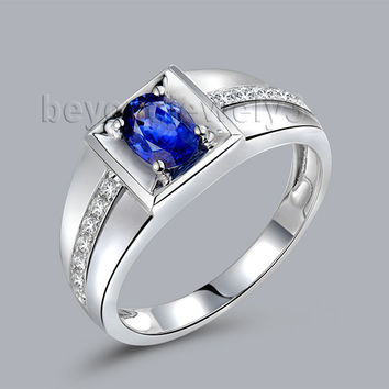 noble oval 4x6mm natural blue sapphire ring for men in solid 18kt white gold wedding ring,750 white gold diamond ring wu292