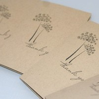 Kraft and Black Dandelion Hand Made Thank You Card Set of Five