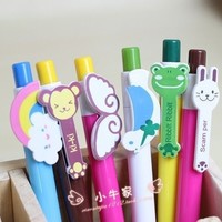FD474 Cartoon Animal Shape head ball pen Stationary Kid Gift ~Random Color~ 1PC