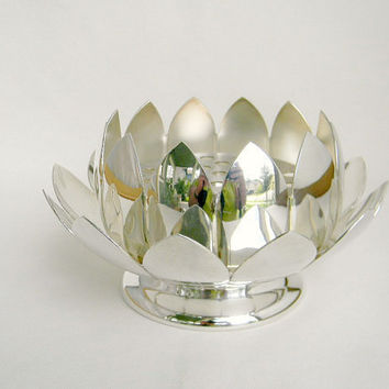 silverplated lotus bowls complete set including by FlumeStreet