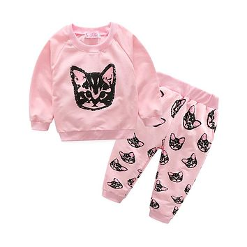 New Girls clothing Sets Cat Spring baby girl tracksuit sets cotton girl suit set sweatshirts coats+trousers