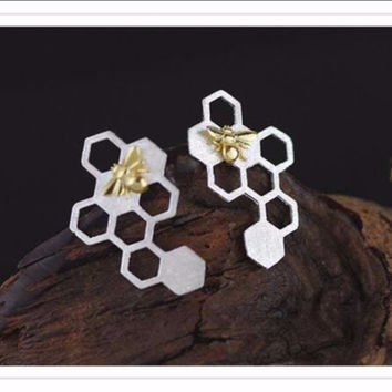 natural bee hive 925 sterling silver earrings
