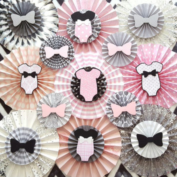 Baby Shower Decor / Baby Shower Paper Rosettes / Pink, Gray, Silver and Black Decor / Baby Girl Nursery Decor / Baby Girl Paper Fans