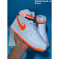 KUYOU N573 Nike Air Force 1 Just Do It AF1 Hight Casual Sports Skate Shoes White Orange Black