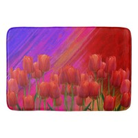Red Spring Tulips Bath Mat