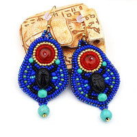 Egyptian inspired embroidered earrings Black scarab earrings Beadwork Blue Red Turquoise seed bead egyptian earrings Bead embroidery jewelry