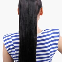 Black Tousled Long Heat-Resistant Straight Hair Extension