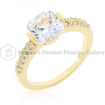 Clear Cushion Cut Cubic Zirconia Engagement Ring (size: 09) R08349G-C01-09