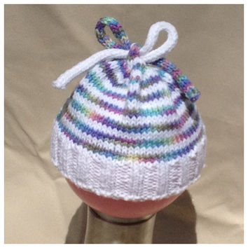baby girl hat, baby knit hat, baby clothes, rainbow baby, newborn knit hat, newborn hat with bow, newborn hospital hat, knit infant hat,
