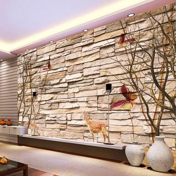 Home Improvement Modern 3D Embossed Brick Stone Wallpaper Wall Art Living Room Sofa Bedroom Mural Wallpaper Customized 3D Forest