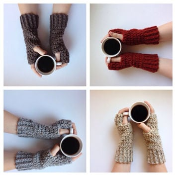 Fingerless gloves 2 pair for 20, crochet arm warmers, fingerless mitts