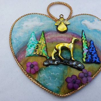 A Lovely Rainbow Bridge Ornament for loss of beloved pets Greyhound, Labrador, Cat
