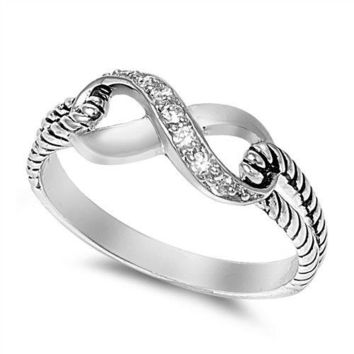 .925 Sterling Silver Infinity Knot Clear Cubic Zirconia Promise Ring Size 3-13