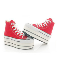 Studded Cutom Converse Platform  RED MONANA by SHOEDYcustom