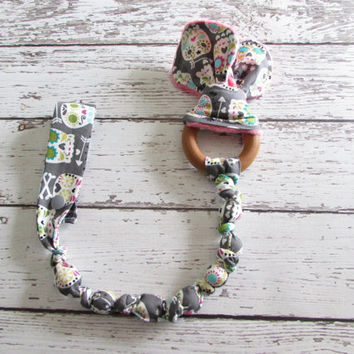 Sugar Skulls Snap On Teether. Bunny Ear Teether. Organic Wooden Teether - Ready To Ship