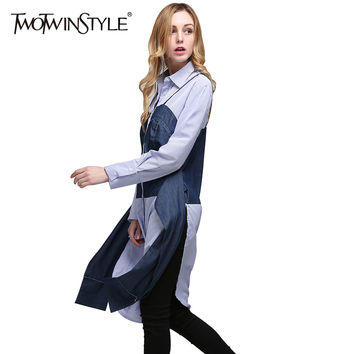 TWOTWINSTYLE 2017 Summer Women Lace up Striped Tops Shirts Blouses Patchwork Denim Long Sleeves Side Slit Tunic Clothes Casual