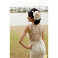 Marvelous Vintage Sleeveless Mermaid Lace Wedding Dress