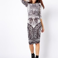 River Island Mono Print Column Dress at asos.com