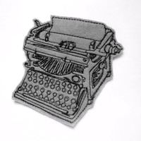 Typewriter iron on patch Applique in gray - grey typewriter - patches for jackets - cute patches - vintage typewriter