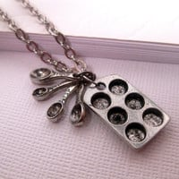 Muffin Pan Cupcake Necklace With Spoon Charm