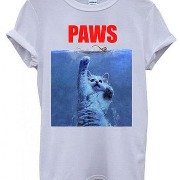 Paws cat White Men Women Unisex Top T-Shirt
