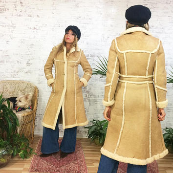 Vintage 60s 70s SHEARLING Sheepskin Princess Coat || Ultra Warm Hippie Boho Long Length Coat || Size XS 0-2