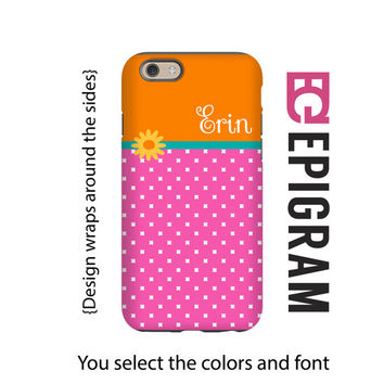Personalized iPhone 6s case, pink and orange iPhone 6s plus case, custom iphone cases, iPhone 5s case, iphone case for her, 3D iPhone cases