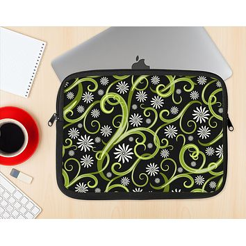 The Green Floral Swirls on Black Ink-Fuzed NeoPrene MacBook Laptop Sleeve