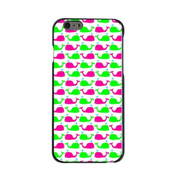 DistinctInk® Hard Plastic Snap-On Case for Apple iPhone - Green Pink Cartoon Whales