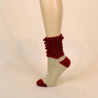 Red Cream Slouch Socks, Thick House Slippers, Soft Ribbed Foot Warmer, Cinnamon Beige House Sock Leg Warmers