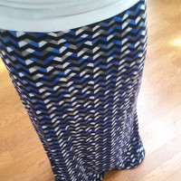 Chevron Patterned Maxi Skirt Custom Made upon Order Long Skirt Fashion Skirt Spring Skirt Womens Skirt A line Skirt Summer Skirt Stretch