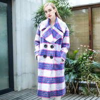 Plaid Wide Collar Big Button Wool Coat