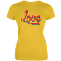 LGBT Script Love Rainbow Bright Yellow Juniors Soft T-Shirt